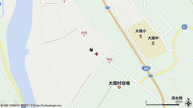 山形県最上郡大蔵村合海12周辺の地図