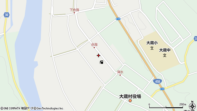 山形県最上郡大蔵村合海36周辺の地図