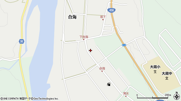 山形県最上郡大蔵村合海88周辺の地図