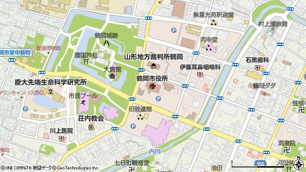 山形県鶴岡市周辺の地図