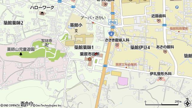 宮城県栗原市周辺の地図