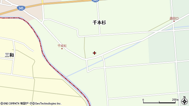 山形県東田川郡庄内町千本杉東割周辺の地図