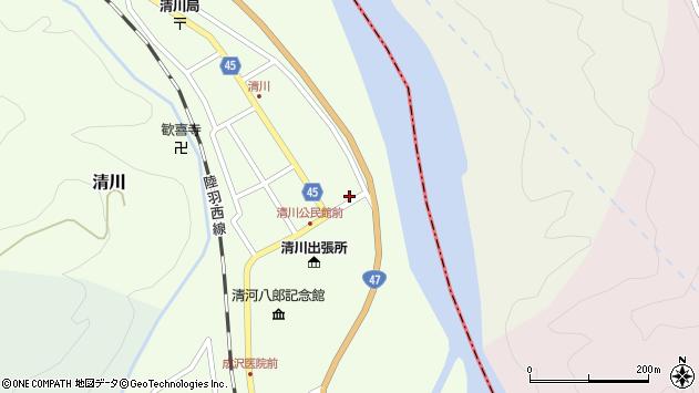 山形県東田川郡庄内町清川花崎44周辺の地図