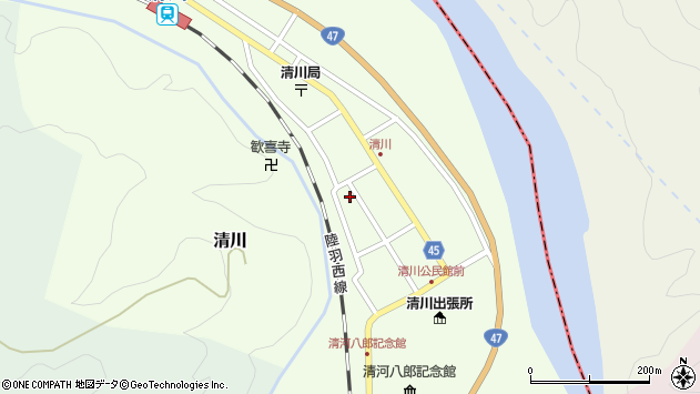 山形県東田川郡庄内町清川花崎115周辺の地図