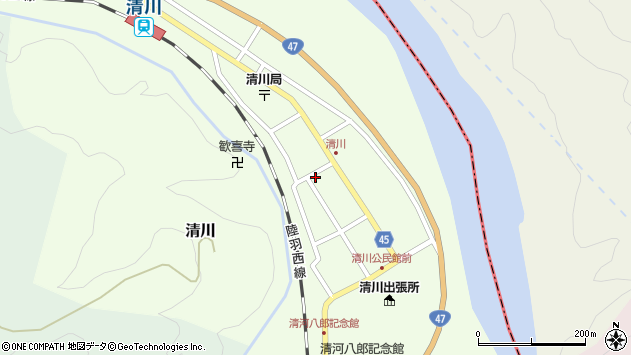 山形県東田川郡庄内町清川花崎118周辺の地図