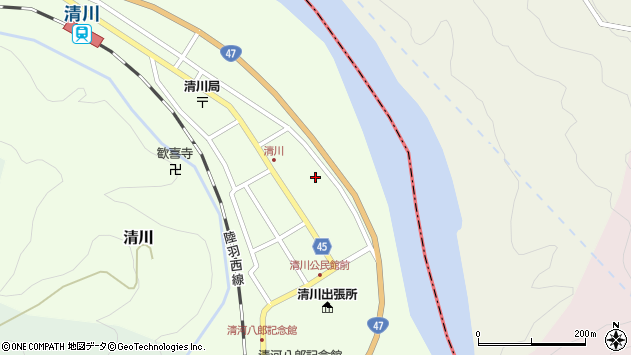 山形県東田川郡庄内町清川花崎58周辺の地図