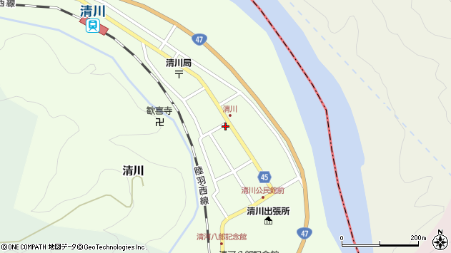 山形県東田川郡庄内町清川花崎83周辺の地図