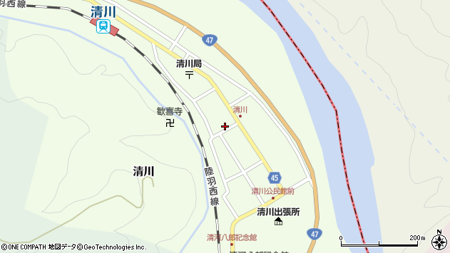 山形県東田川郡庄内町清川花崎周辺の地図