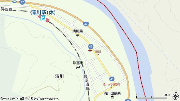 山形県東田川郡庄内町清川花崎181周辺の地図