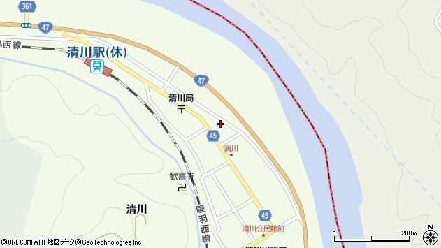 山形県東田川郡庄内町清川花崎190周辺の地図