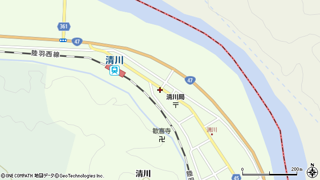 山形県東田川郡庄内町清川下川原周辺の地図
