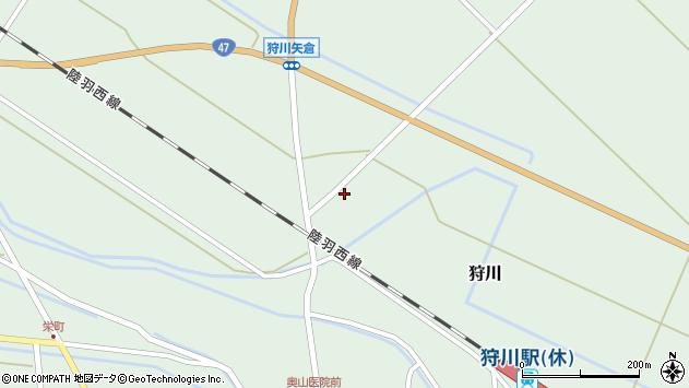 山形県東田川郡庄内町狩川砂田割周辺の地図