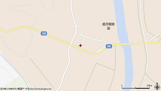 山形県最上郡鮭川村庭月2912周辺の地図