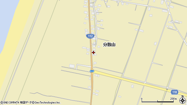 山形県酒田市浜中分散山495周辺の地図