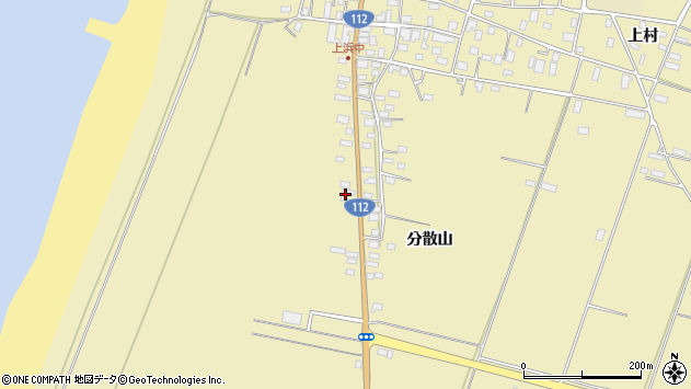 山形県酒田市浜中分散山214周辺の地図