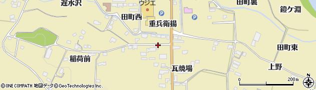 宮城県栗原市栗駒中野稲荷前周辺の地図