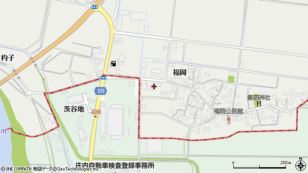 山形県酒田市広野福岡152周辺の地図