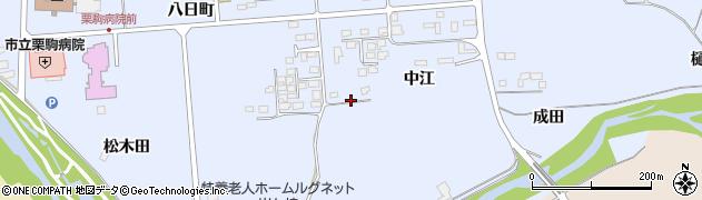 宮城県栗原市栗駒岩ケ崎中江周辺の地図