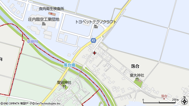 山形県東田川郡庄内町落合落合66周辺の地図