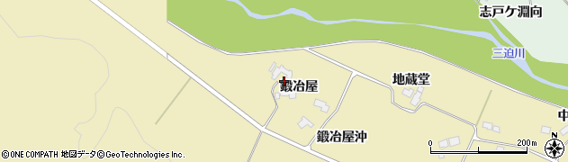宮城県栗原市栗駒中野鍛冶屋周辺の地図