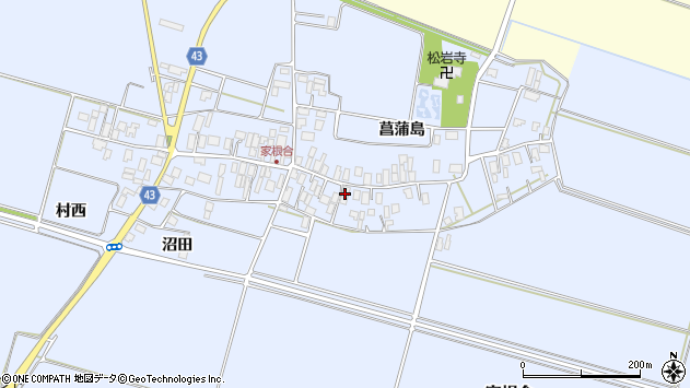 山形県東田川郡庄内町家根合菖蒲島110周辺の地図