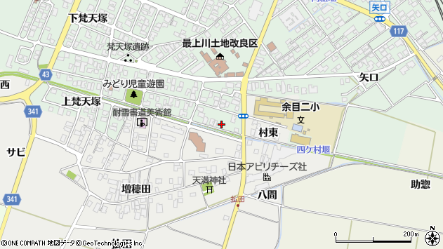 山形県東田川郡庄内町余目梵天塚45周辺の地図