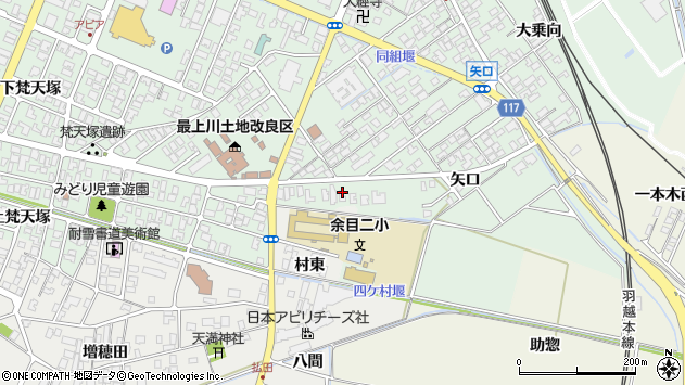 山形県東田川郡庄内町余目矢口55周辺の地図