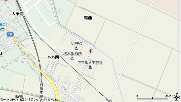 山形県東田川郡庄内町常万臂曲周辺の地図