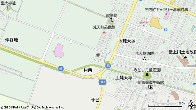 山形県東田川郡庄内町余目仲谷地周辺の地図