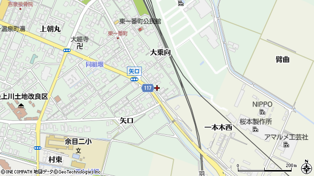 山形県東田川郡庄内町余目大乗向74周辺の地図