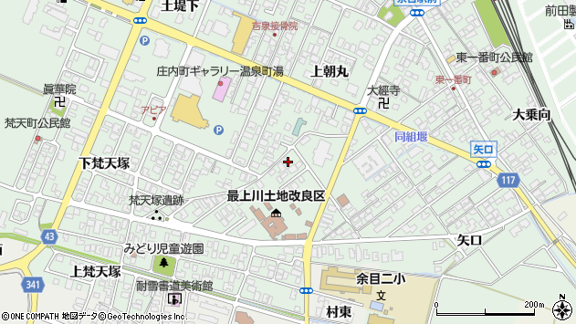 山形県東田川郡庄内町余目上梵天塚8周辺の地図