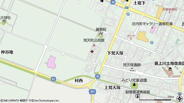山形県東田川郡庄内町余目下梵天塚77周辺の地図