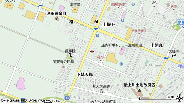 山形県東田川郡庄内町余目土堤下47周辺の地図