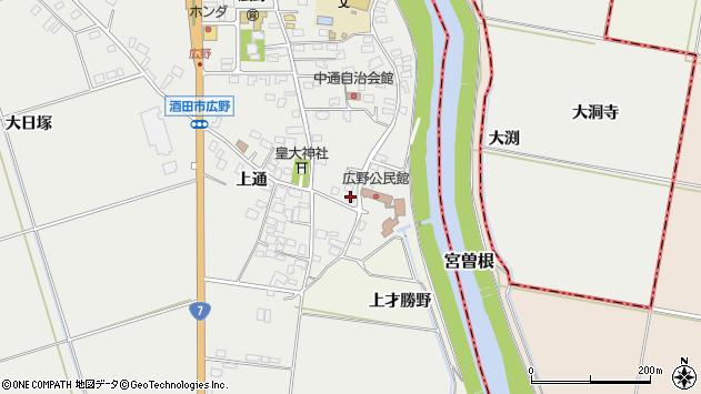 山形県酒田市広野上通19周辺の地図