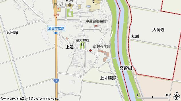 山形県酒田市広野上通20周辺の地図