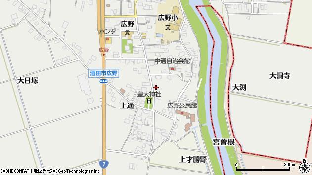 山形県酒田市広野上通13周辺の地図