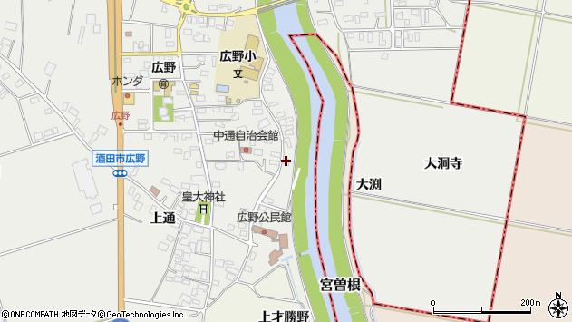 山形県酒田市広野中通172周辺の地図