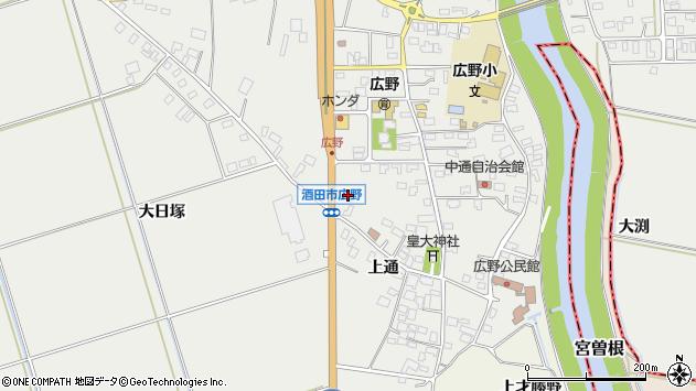 山形県酒田市広野上通143周辺の地図