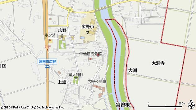 山形県酒田市広野中通16周辺の地図