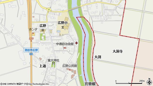 山形県酒田市広野中通156周辺の地図
