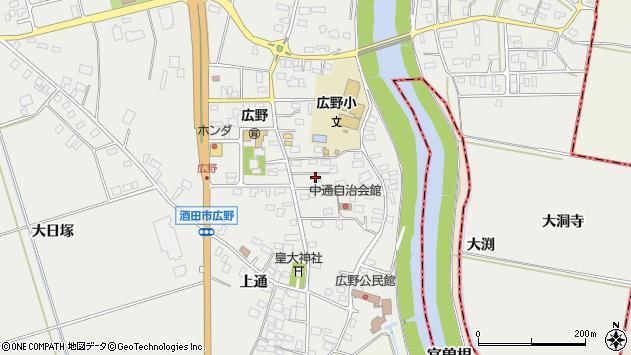 山形県酒田市広野中通13周辺の地図