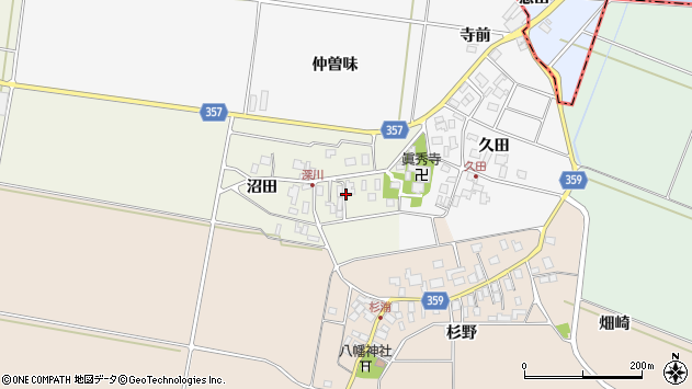 山形県東田川郡庄内町深川沼田25周辺の地図