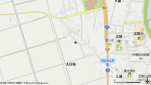 山形県酒田市広野大日塚102周辺の地図