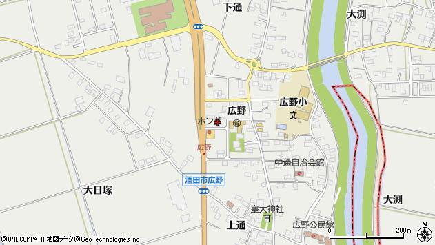 山形県酒田市広野中通82周辺の地図