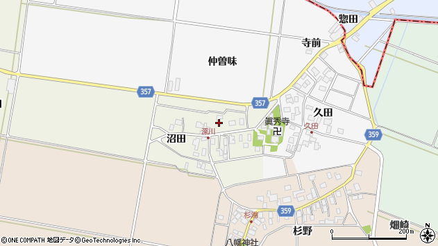 山形県東田川郡庄内町深川沼田周辺の地図