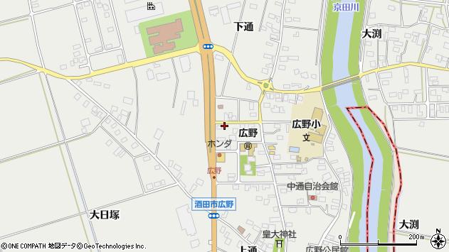 山形県酒田市広野中通84周辺の地図