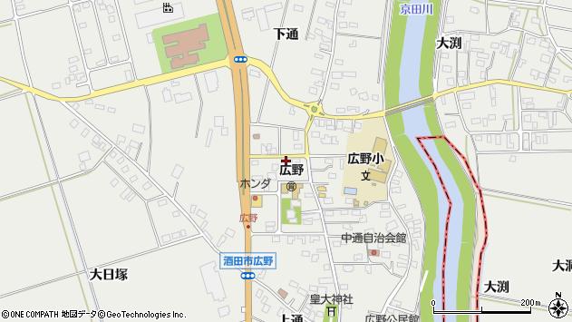 山形県酒田市広野周辺の地図