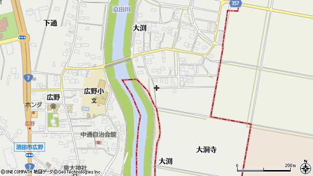 山形県酒田市広野大洞寺33周辺の地図