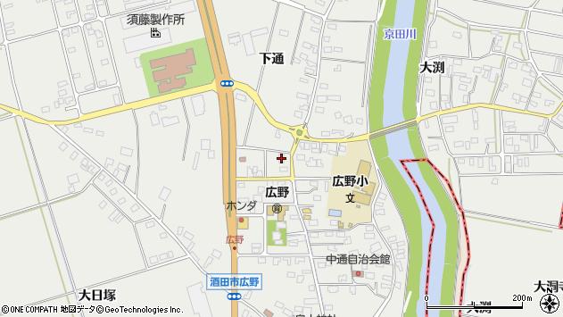 山形県酒田市広野下通93周辺の地図