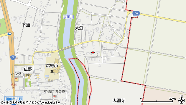 山形県酒田市広野大渕41周辺の地図